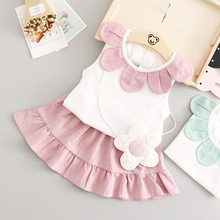 Summer Infant Baby's Sets Sleeveless Sunflower Collar T-shirt Tops + Tutu Skirt Kids Clothes Two Pieces Suits roupas de bebe