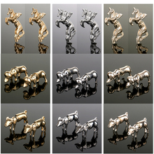 Hot New Design Animal Stud Earrings Fashion Cool Punk Style Gold/Silver/Rose Horse Dog Pig Men Women Gifts Party Jewelry