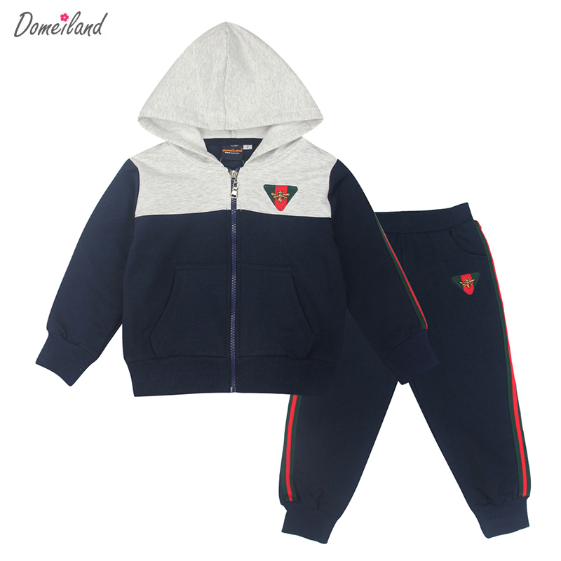 2017 fashion spring brand domeiland Children boys clothing 2pcs kids sport zipper cotton jackets pant clothes sets tracksuits<br>