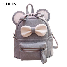 LIXUN Mini Backpack For Girls Cute Mouse Ear Bag High Quality Women Leather Rucksack PU Children Shoulder Book Bag Mochila(China)