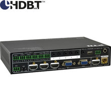 HDMI VGA 5X1Scaler/switcher with HDbaseT port up to 70M+IR RS232 control with 5 audio & 1 MIC inputs(China)