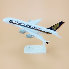 Alloy Metal Air SINGAPORE Airlines A380 Airplane Model SINGAPORE Airbus 380 Airways Plane Model Stand Aircraft Gifts 20cm(China)