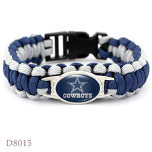 Dallas cowboys super bowl championship Rugby team The umbrella rope Bracelet weaving outdoor Men Fan Gift Wholesale