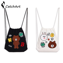 Bag for Girls School Shoes Fashion Cartoon bear Shoes Bags Canvas Travel Shoulders Backpack Drawstring Storage Bags