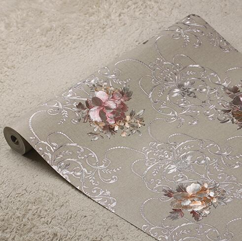 European luxury 3D floral background wallpaper 3D embossed gold foil wallpaper roll Living room bedroom wallpaper Silver gray <br>
