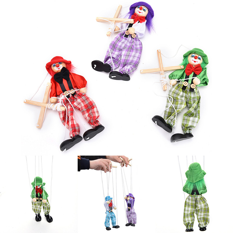 Pull String Puppet Clown Wooden Marionette Toys