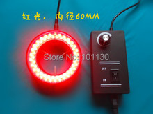 Red Light 60 LED Microscope Ring Light for Stereo Biological Zoom Microscope Brightness Adjustable 110V-240V(China)
