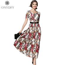 Luxury Runway Dresses 2017 Women High Quality Summer Lace Dress Short Sleeve Floral Print Dresses Party Sexy Club Wear Vestidos