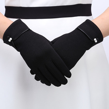 Female Gloves Mitten Women Autumn Winter Outdoor Warm Inverted Cashmere Cotton Wrist Glove Solid Color Touch Screen Gloves Women