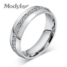 Modyle Fashion Wedding Design Stainless Steel Exquisite Inlaid Cubic Zirconia Ring for Women(China)