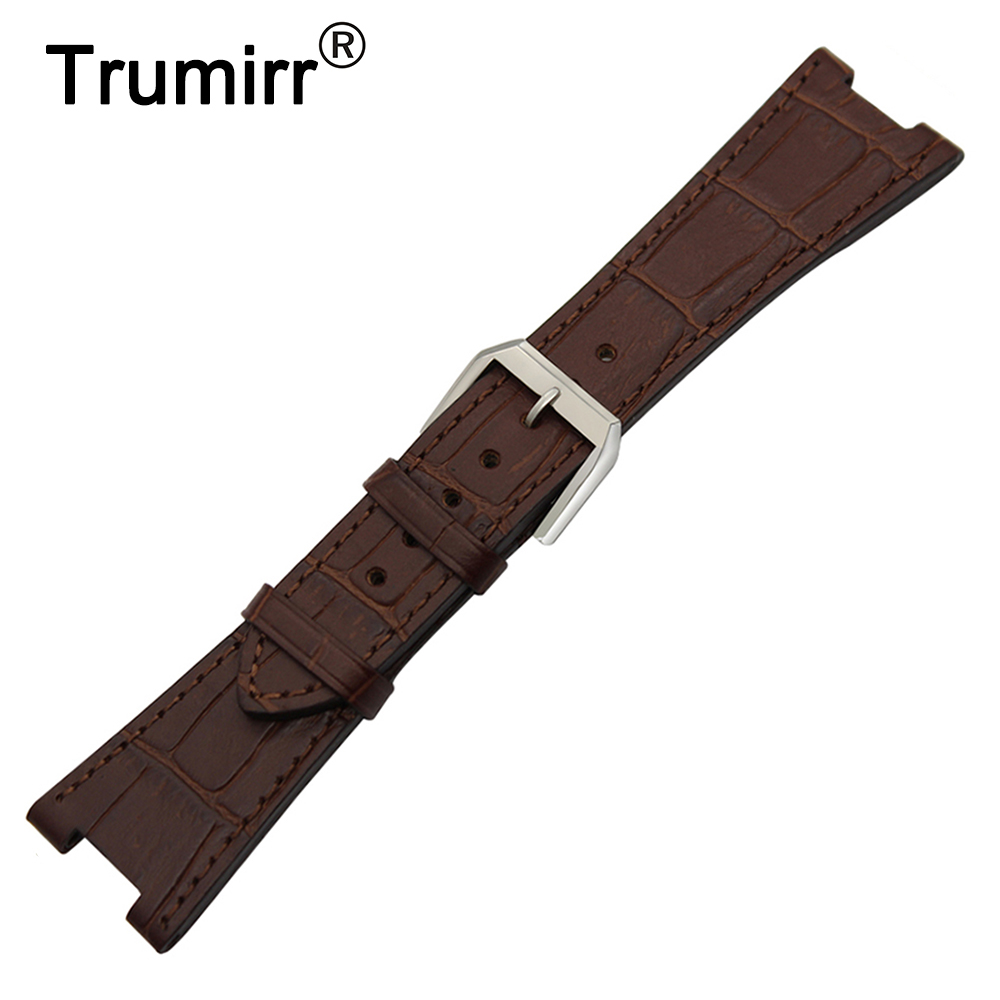 Top Layer Calf Genuine Leather Watchband 25mm x 12mm for Patek Philippe Notch Watch Band Steel Buckle Strap Wrist Bracelet Brown<br>