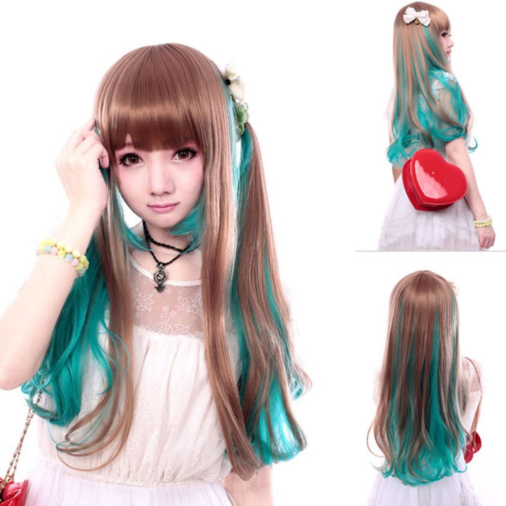 Purple extra long straight lady hair wigs part bangs