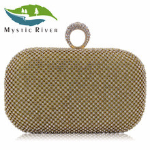 Mystic River Women Evening Bags Ring Rhinestone Clutch Bag Wedding Party Purse Gold Black Diamond Day Clutches(China)