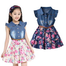 Summer Dresses For Girls Cotton Children Clothing Denim Baby Clothes Floral Short Sleeve Kids Clothes For Girls Princess Dress