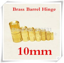 10pcs 10mm Brass Barrel Hinge Cylindrical Hidden Cabinet Hinges Concealed Invisible Mortise Mount Hinge