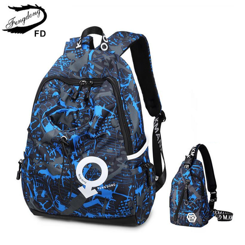 FengDong school backpacks for boys kids travel backpack male chest bag boy back pack blue laptop bag 15.6 women rucksack bagpack<br>