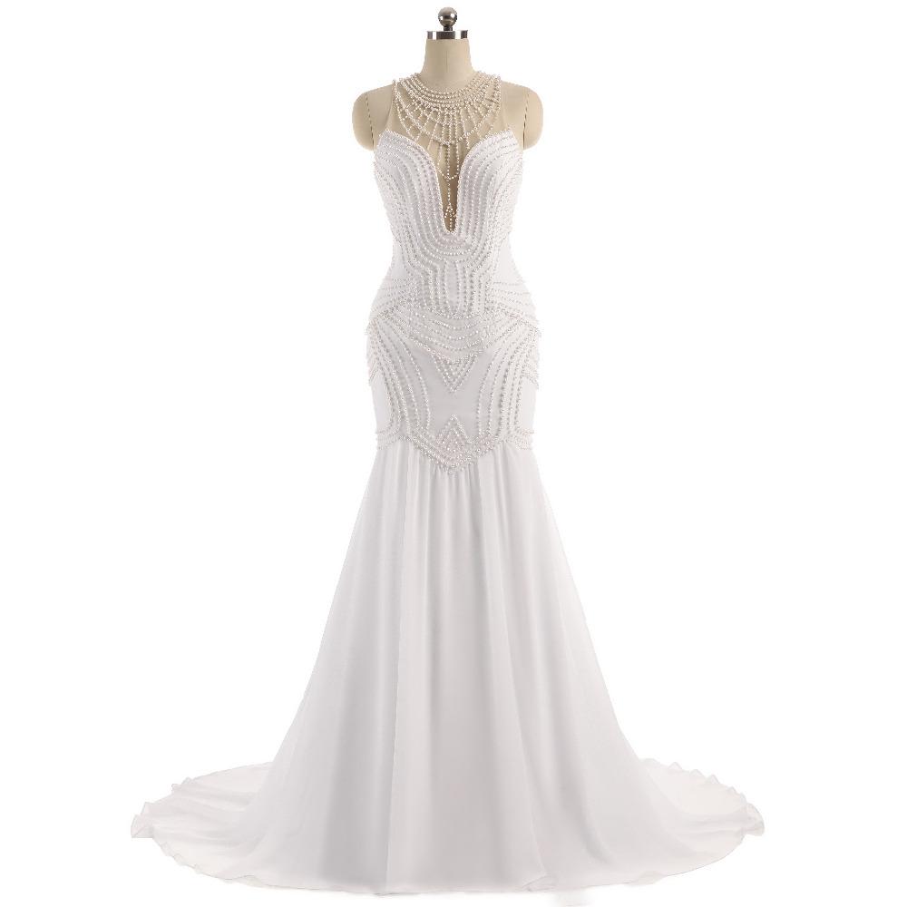 Lover Kiss Vestido De Noiva Sheer Neck Sexy Wedding Dress Pearls Mermaid Sleeveless Wedding Dresses Wedding Dress 2