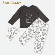 Bear Leader Baby Clothing Sets 2017 Autumn Baby Boy Clothes Long Sleeve Letter Print T-shirt+Pants+Hat 3Pcs Kids Clothing Sets
