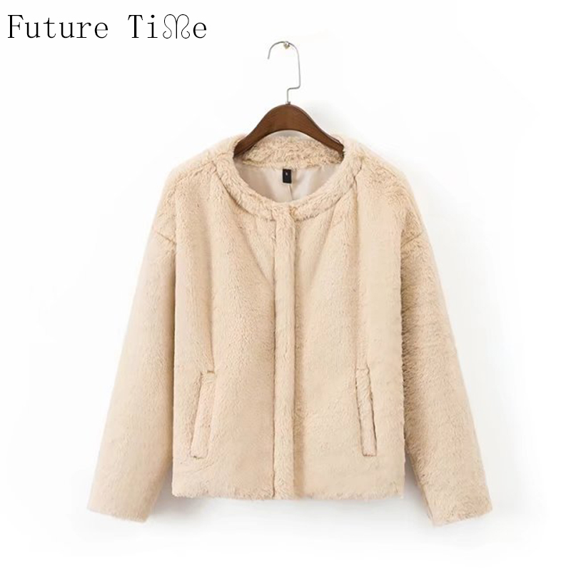 Future Time Vintage Fluffy Faux Fur Coat Women Winter Coat Outerwear Beige Pink Coat 2017 Autumn Casual Party Overcoat WT185Îäåæäà è àêñåññóàðû<br><br>