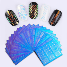 1 Sheet Hollow Nail Vinyls Adhesive Clear Glass Paper Colorful 3D Nail Art Stencil Stickers Nail Decorations(China)