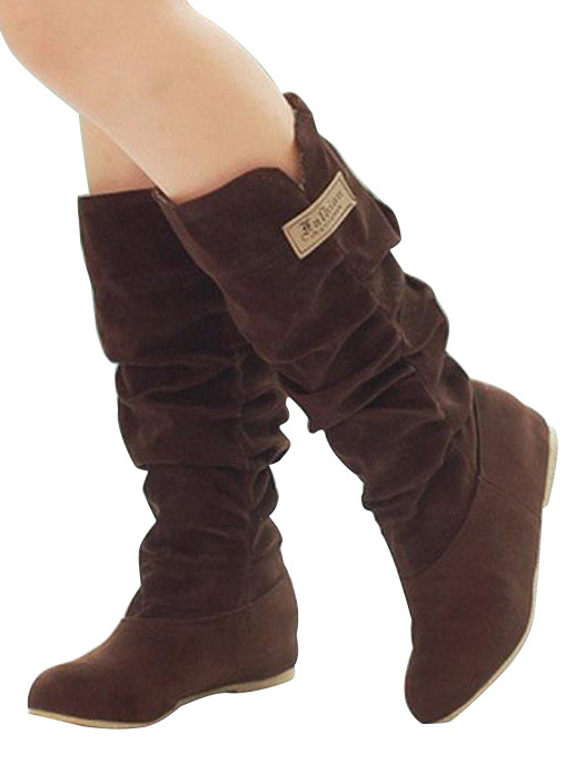 ASDS New Fashion Mid Wide Calf Slouchy Casual Knee High Boots<br><br>Aliexpress