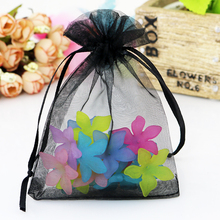 Wholesale 1000pcs/lot Black Organza Bag 9x12cm Wedding Favor Gift Bag Cute Candy Bracelet Jewelry Packaging Bags Organza Pouch(China)