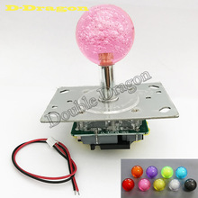 2pcs 4/8way LED Joystick with Crystal Babble ball top 7colors Illuminated LED fish game /arcade jamma game Joystick