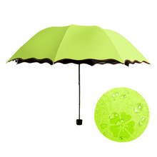 women's umbrella 2015 New Arrival Princess Magic Flowers Dome Parasol Sun/Rain Folding Umbrella Hot Sale Color umbrella