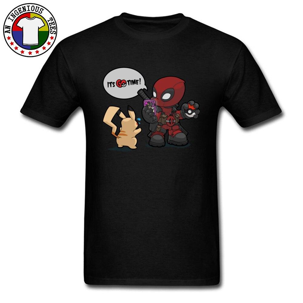 Tops & Tees Deadpool Pokemon GO time 1226 Summer Short Sleeve 100% Cotton Crewneck Man Top T-shirts Leisure Clothing Shirt Plain Deadpool Pokemon GO time 1226 black