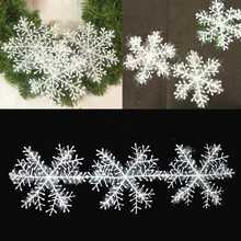 120Pcs/lot White Plastic Christmas Snowflake Sheet Ornament Merry Xmas Tree House Decoration with Shining mixed 4size