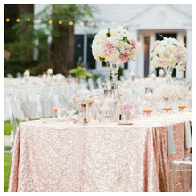 Selling Blush 50''*72'' Sequin Tablecloth, Wholesale Sequin Table Cloths Sparkly Blush Table Sequin Linens For Wedding