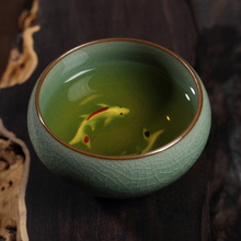 Chinese Longquan Celadon Golden Fish Teacups Tea Maker Cup Caneca China Porcelain Tea Cups Crackle Tea Set(China)