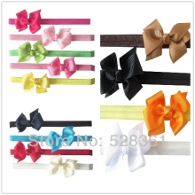 X13 Assorted Childrens Cute Girlss Boutique Grosgrain Ribbon Pinwheel Hairbow Soft Elastic Hairbands Children's Fashion Headwear