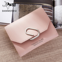 [DWTS]Korean Women Mini Wallets Trifold Slim Small Wallet Female Purse PU Leather Lady Zipper Coin Card Holder Dollar Bag Cuzdan