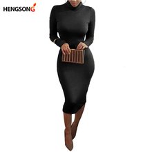 Women's Sexy Slim Fashion Europe Style High Neck Clubwear Night Wear Bodycon Dresses 8 Colors KH950173(China)