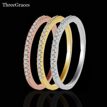 Fashion Stackable Rings Costume Jewelry Gold Color And Silver Color Luxury Cubic Zirconia Wedding Ring Set For Women RG036(China)