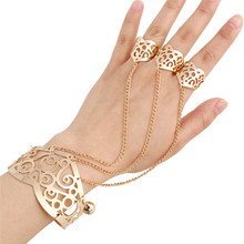 Fashion Gold Color Chain Link Bangle Bracelet Hollow Design Connected Finger Ring Bracelet for Women Jewelry Gift(China)