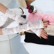 Women White Lace Arm Warmers Fashion Print Oversleeve Bride Wedding Dress Glove Hollow Sunscreen Thin Section Sleeves Cover(China)