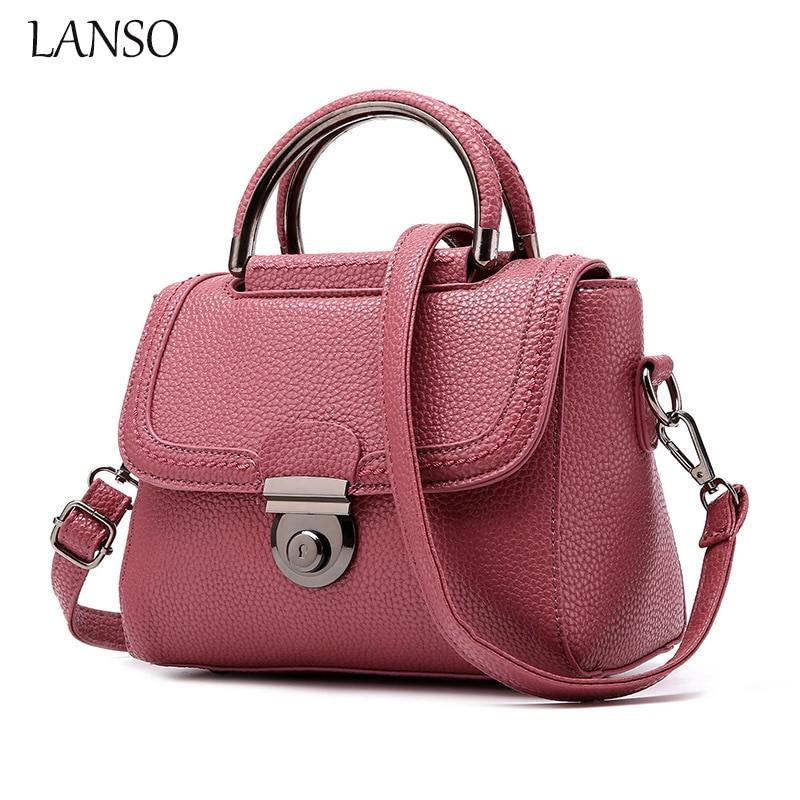 Lanso Luxury Brand Design Doctor Bag Vintage PU Leather Shoulder Bags With Lock Multi-Color Medium Size OL Casual Handbag <br><br>Aliexpress