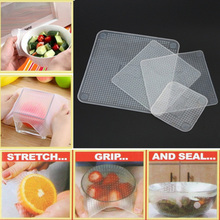 Hot 4pcs Multifunctional Food Fresh Keeping Saran Wrap Kitchen Tools Reusable Silicone Food Wraps Seal Vacuum Cover Lid Stretch