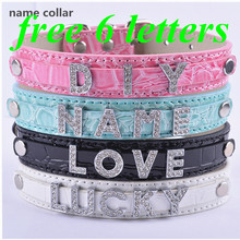 Personalized DIY Name Collar FREE 6 LETTERS Croc Leather Dog Collar Pet Products For Animals(China)