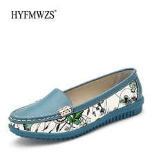 HYFMWZS High Quality Spilt Leather Women Loafers Fashion Designers Breathable Flat Shoes Women Ballet Shoes Slip-On Mother Shoes(China)