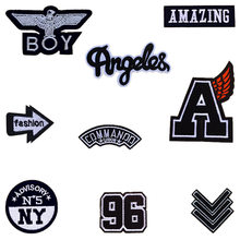 BOY NY N5 96 Letter Fabric Patch Embroidery Iron on Patches For Clothing DIY Decoration Clothes Stickers Applique Badge(China)