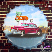 Motel ROUTE 66 Round Car signs Beer bottle cap Garage Pub Bar Hotel Wall Decor<40cm,RD-58>