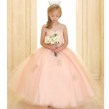 2017 Flower Girl Dresses For Weddings Ball Gown Scoop Tulle Appliques Beaded First Communion Dresses For Little Girls