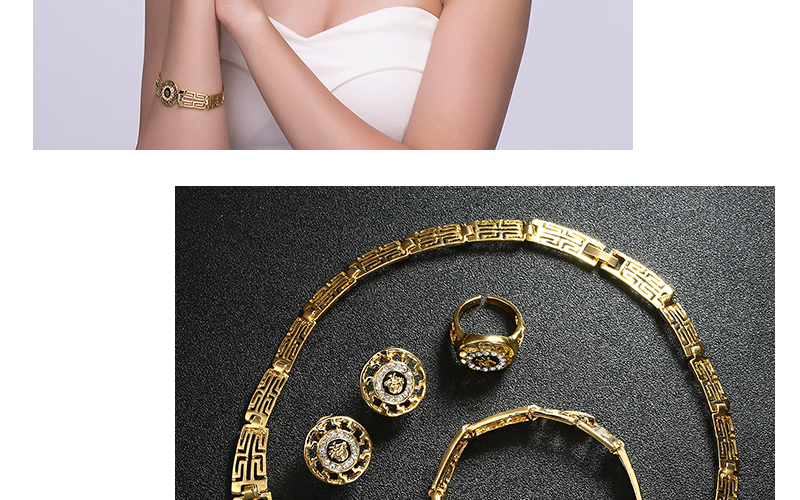 AYAYOO African Dubai Jewelry Sets 2018 Nigerian Gold Color Jewellery Sets For Women Wedding Imitation Crystal Necklace Set (2)