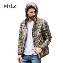 NEW Autumn Winter Duck Down Jacket men short hooded bionic camouflage coat Ultra Light Thin plus size Mens Outerwear coat