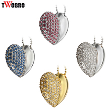 Fashion Jewelry Pendrive USB flash drive 2.0 4GB 8GB 16GB 32G Pen Drive Crystal Heart Style Memory Stick Girls Lady Gifts
