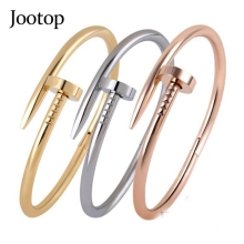 Trendy Rose Gold Silver Lover Bracelets Bangles for Women Men Jewelry Plated Titanium Bracelet Pulseirass(China)
