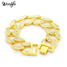 Wonlife Gold Color Plus Size Heavy 23mm Hip Hop Iced Out Bling Bling Cuban Link Chain Bracelet for Men Jewelry(China)
